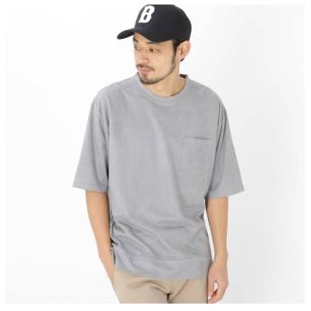 【ベース ステーション/BASE STATION】 フェイクスエード ビッグシルエット 半袖 Tシャツ