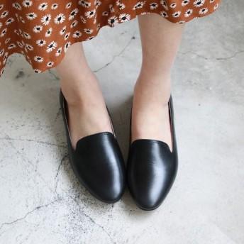 無地革オベラ/黒/手作り婦人靴/ C2-19908L