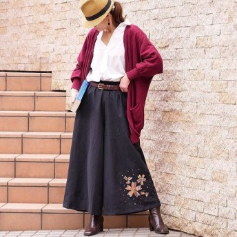 creemaメルマガ掲載作品*桜モチーフパッチワーク×ステッチ×キラキラ刺繍*ワイドパンツ*ブラック