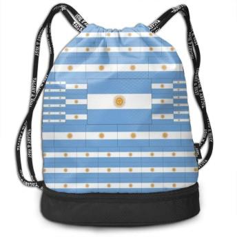 アルゼンチン旗 ユニセックス多目的スポーツバンドルドローストリングバックパック耐久大空間ジム屋外バッグ