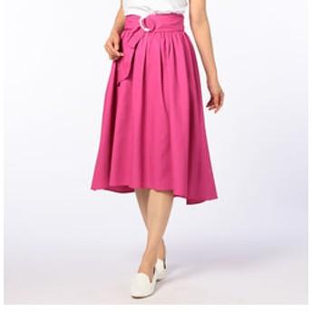 【NOLLEY'S:スカート】ギャザーフレアサッシュベルト付きスカート