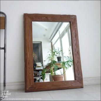 古材 鏡 オールドチークフレームミラー壁掛80X レトロ 天然木 ハンドメイド 手作り 総無垢 壁掛け 銘木 送料無料 幅60cm x 縦80cm