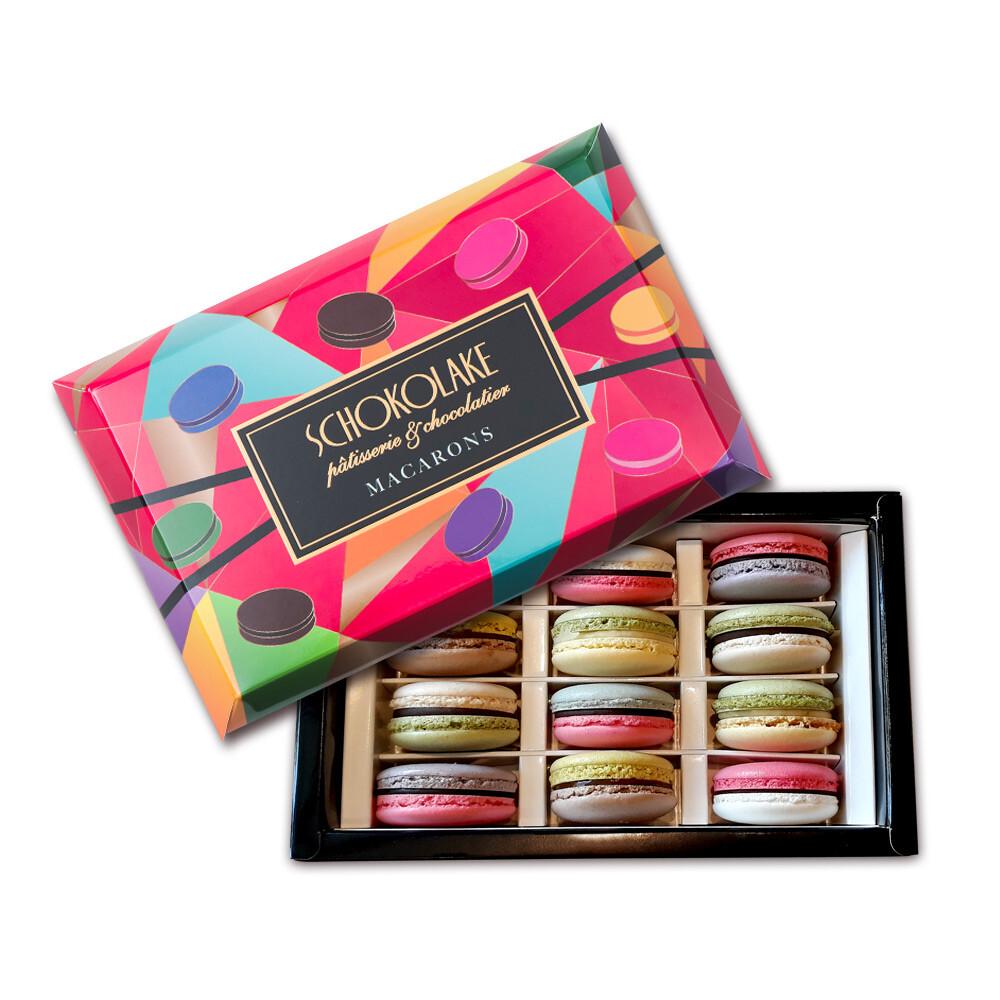 巧克力雲莊雙色馬卡龍12入禮盒