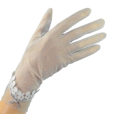 幸福揚邑 冰絲觸控新娘婚禮手套涼感透氣騎車開車防曬手套 -太陽花(灰)