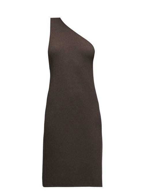 Bottega Veneta - One-shoulder Knitted Dress - Womens - Dark Brown