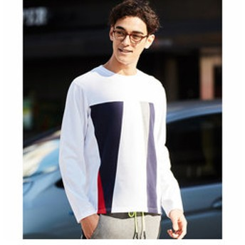 【メンズビギ:トップス】フロント切り替えロングスリーブTシャツ