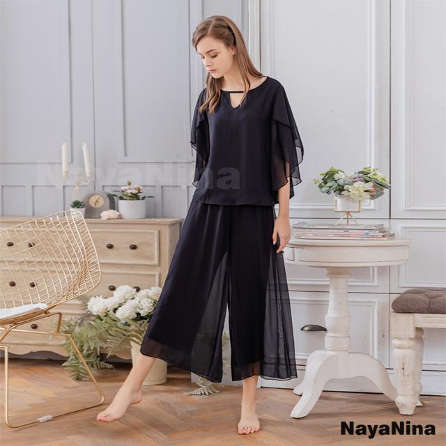 【Naya Nina】雪紡簡約黑層次蛋糕袖衣長褲套裝居家睡衣