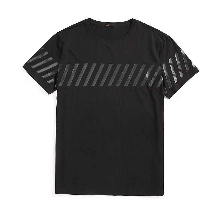 大尺碼.潮流斜線膠印T恤