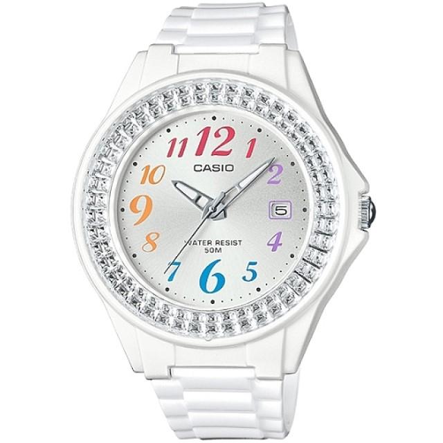 CASIO 閃耀華麗的挑戰時尚腕錶-白x彩色刻度(LX-500H-7B)