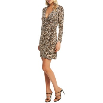 [バードット] レディース ワンピース Bardot Leopard Long Sleeve Wrap Dress [並行輸入品]