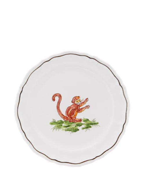 Zdg - Safari Hand-painted Faience-ceramic Side Plate - Womens - White Multi