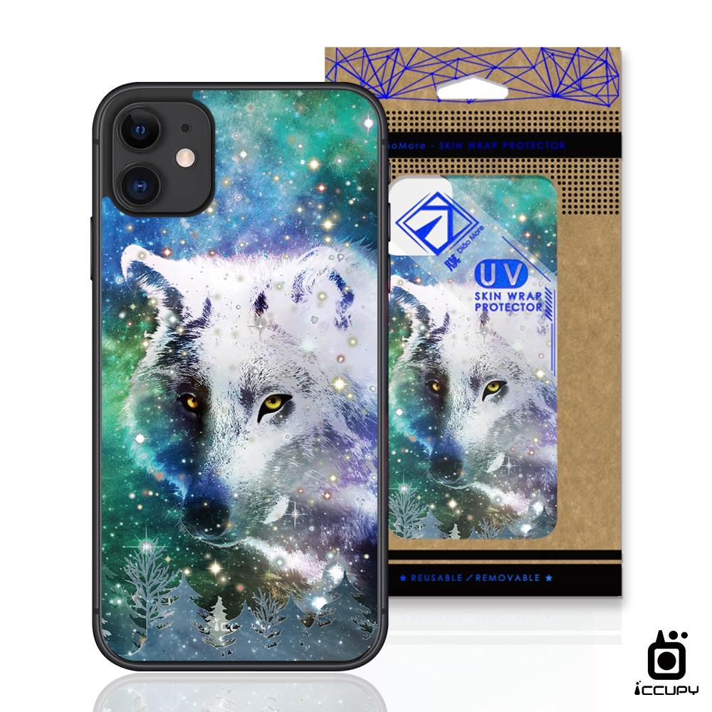 【原創】刁膜DiaoMore-UV高彩印手機背貼-幻獸星空-狼-黑占iCCUPY