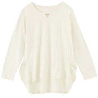 49%OFF【レディース】 アクセサリー付きプルオーバー(7分袖)(日本製・保湿) - セシール ■カラー:ホワイト ■サイズ:L,LL