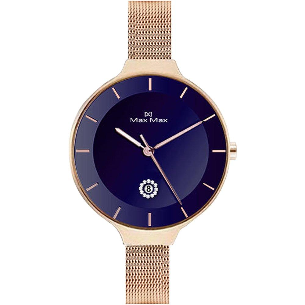 Max Max 小女人優雅風時尚腕錶 -藍色x玫瑰金系(MAS7027-4)