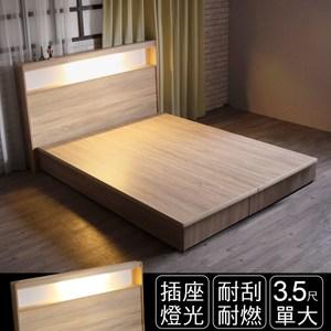 IHouse 山田 日式插座燈光床頭 單大3.5尺