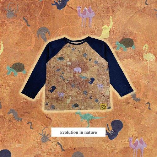 Evolution in Nature 100% 純棉棉兒童長袖 T 卹裁剪和縫製日本製造嬰兒禮物禮物可持續童裝