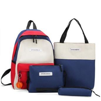 カラー肩を打つバックパックフォーピーススーツ、韓国語バージョン多機能大容量バックパック、高校生スクールバッグ(39  12  27センチメートル) (Color : Blue)