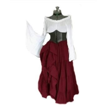 女性のストラップレスチュニック 中世の衣装長袖のドレスの女性のルネッサンス ハーフポルカベルト (Color : Claret, Size : L)