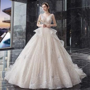 女性の夜会服のドレス レディースVネックフロアレングスロングドレスイブニングパーティーコートラグジュアリーブライダルドレスドレス複数サイズ 結婚式のパーティー (Color : White, Size : S)