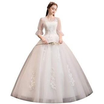 女性の夜会服のドレス レディースワンショルダーロングテールウェディングドレス長袖花嫁ウェディングドレスホワイト 結婚式のパーティー (Color : White, Size : S)