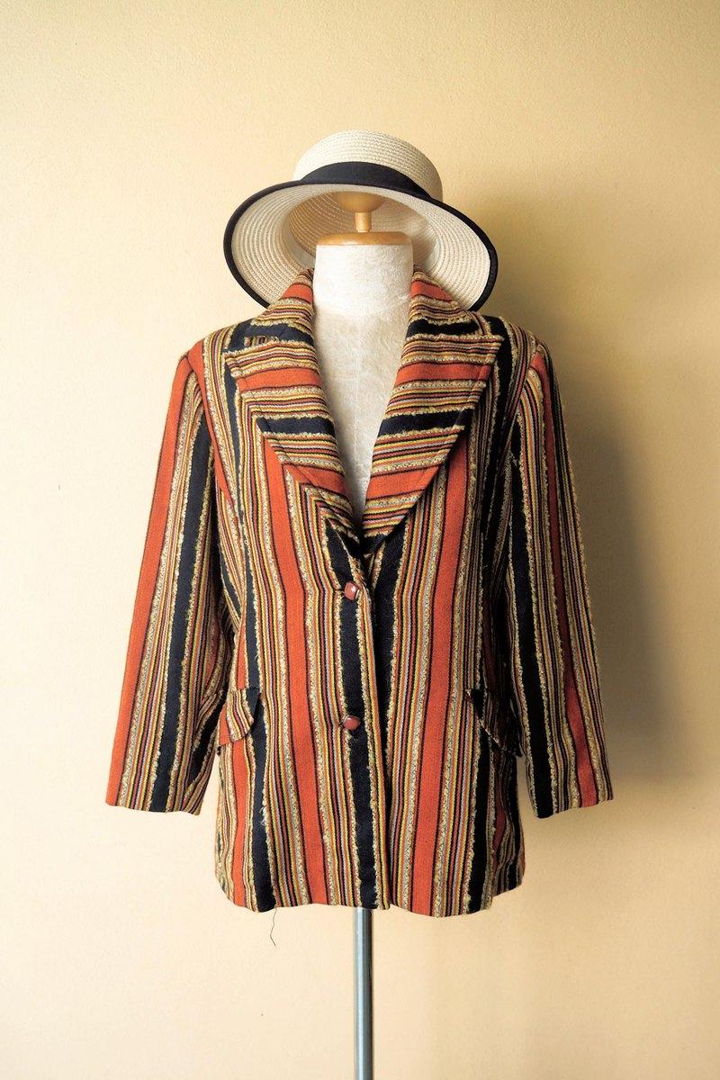復古條紋圖案復古西裝外套