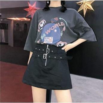 フォローで更におカジュアルロック系ミニスカート