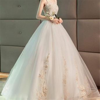 女性の夜会服のドレス レディースシフォン床長ロングドレスイブニングパーティーシンプルスリングウェディングドレス複数サイズ 結婚式のパーティー (Color : White, Size : S)
