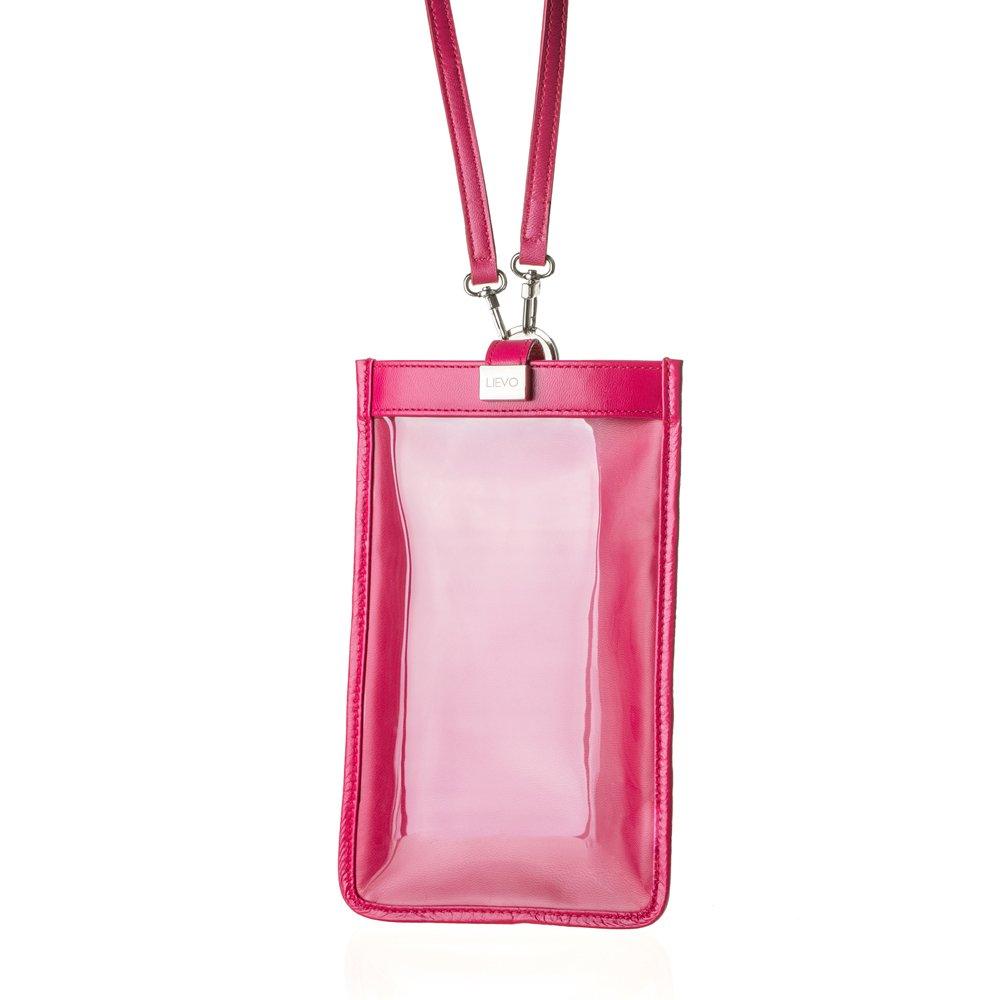 【LIEVO】 TOUCH - 真皮斜背手機護照包_桃紅(7吋螢幕以下手機皆適用)