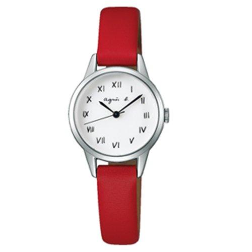 agnes b. 復古手繪羅馬字體皮革女腕錶-25mm/白紅 (VJ21-KT60R/BH8024X1)