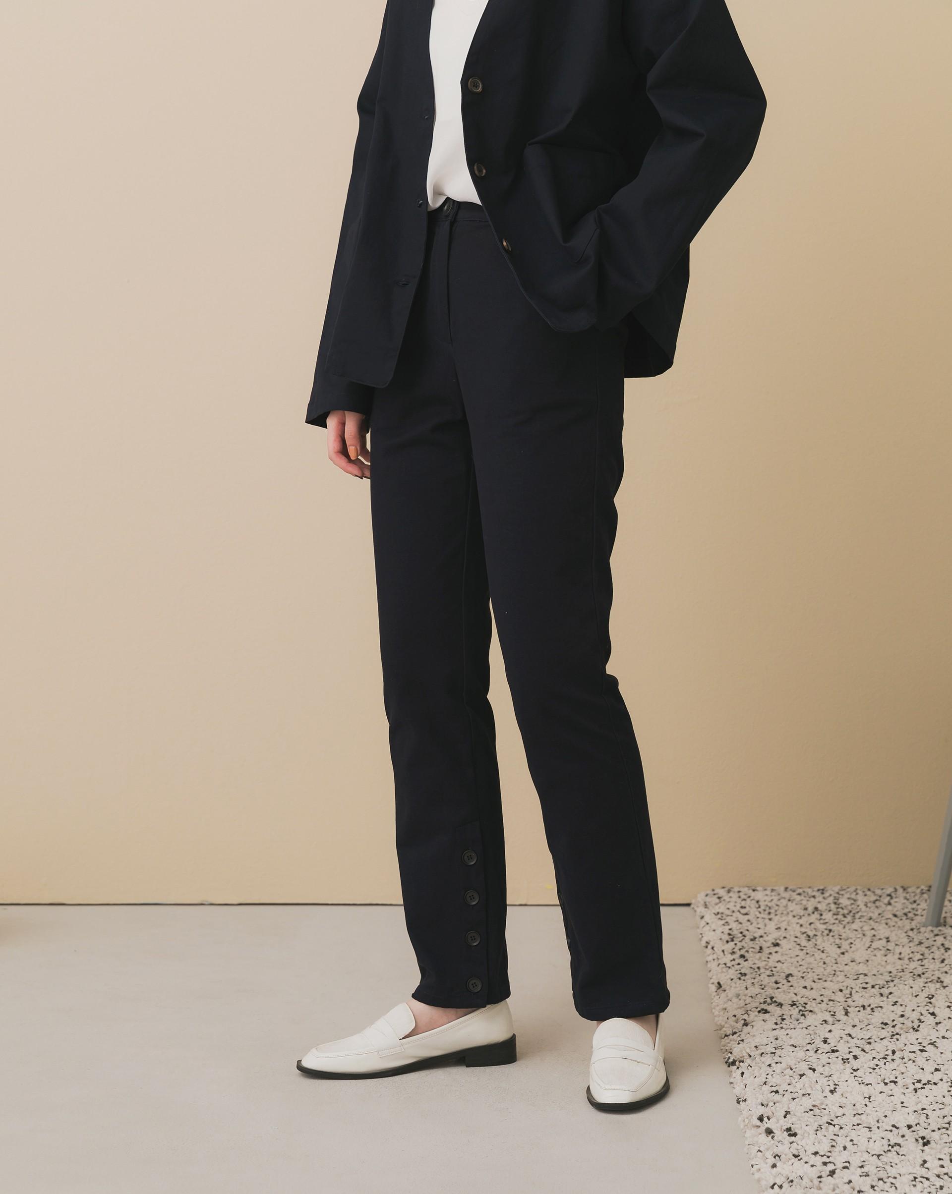 Meierq+挺版開釦休閒褲