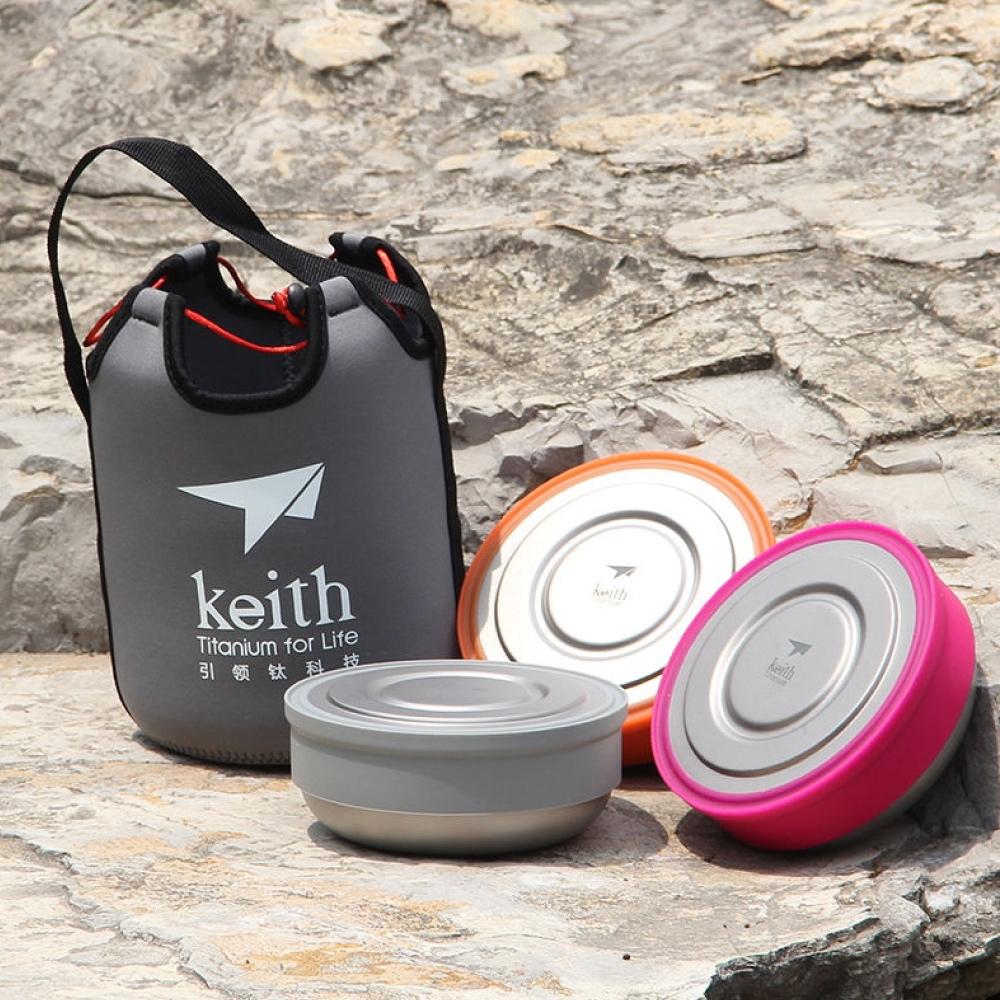 鎧斯Keith Ti5378純鈦環保保鮮餐盒 3入