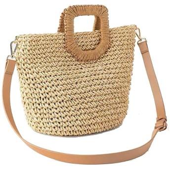 草編みバッグ 夏のビーチストローバッグレディースハンドバッグトラベルトート財布手織りストローバッグハンドル 手提げカバン (Color : Brown, Size : Free size)