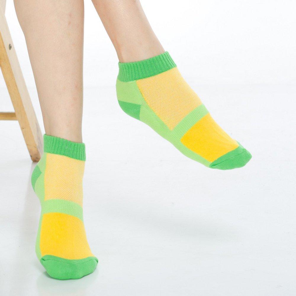 【KEROPPA】可諾帕細針毛巾底氣墊束底女短襪x4雙C91002 E綠配黃