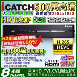 KINGNET 監視器攝影機 Icatch 可取 H.265 8路監控主機 4聲道 500萬 5MP AHD TVI CVI 類比 手機遠端 DVR