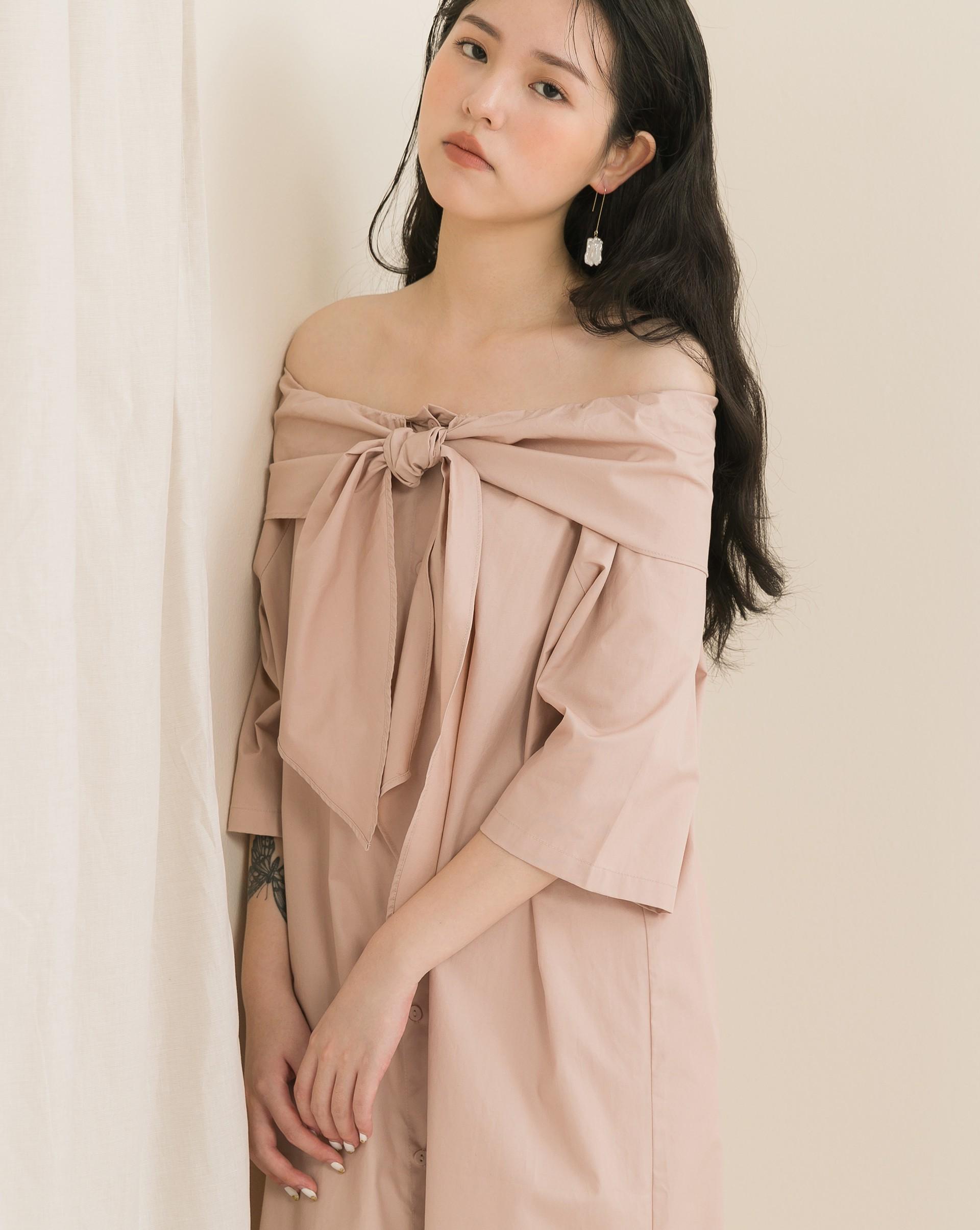 仙氣飄飄一字領襯衫洋裝-Meierq