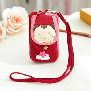 ABS貝斯貓-可愛貓咪拼布包 複合收納功能證件包/零錢包/鑰匙包88-188-活力紅