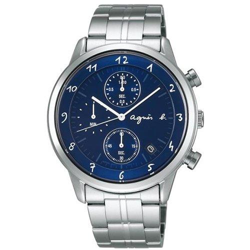 agnes b. 優雅紳士 藝術靛藍三眼計時腕錶-藍(VD57-00A0B/BM3004J1)
