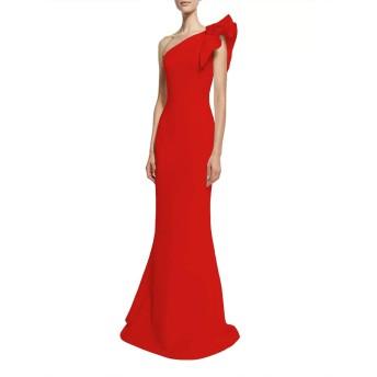 女性のストラップレスチュニック ロータススリーブドレススリムショルダードレス ハーフポルカベルト (Color : Red, Size : M)