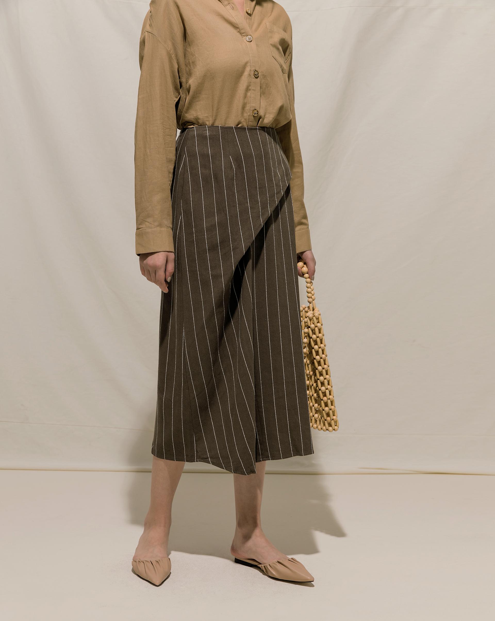 直紋設計感皺摺長裙-Meierq