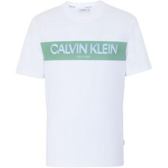 《セール開催中》CALVIN KLEIN メンズ T シャツ ホワイト S コットン BCI 100% STRIPE LOGO T-SHIRT
