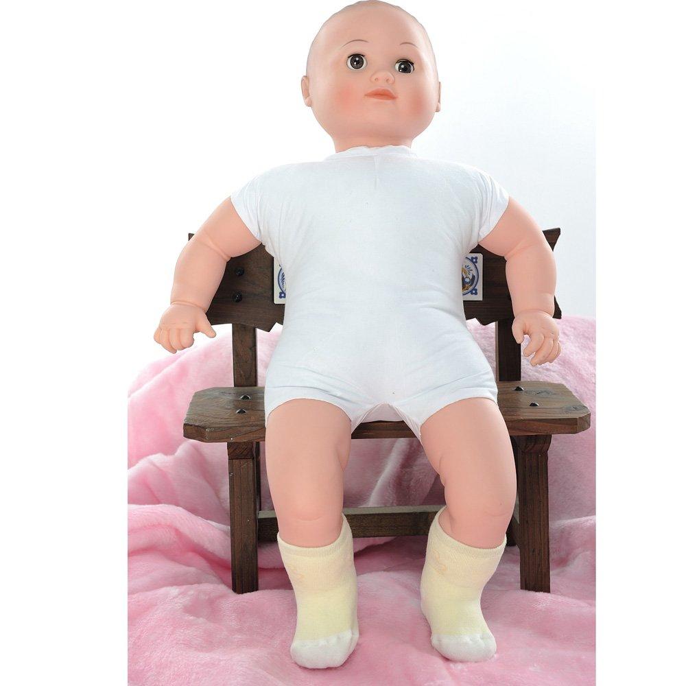 【KEROPPA】可諾帕MIT0~6個月嬰兒厚底止滑短襪x3雙(黃配白)95001-B