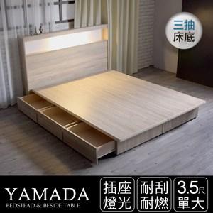 IHouse 山田日式插座燈光房間二件組 床頭+收納床底 單大3.5尺