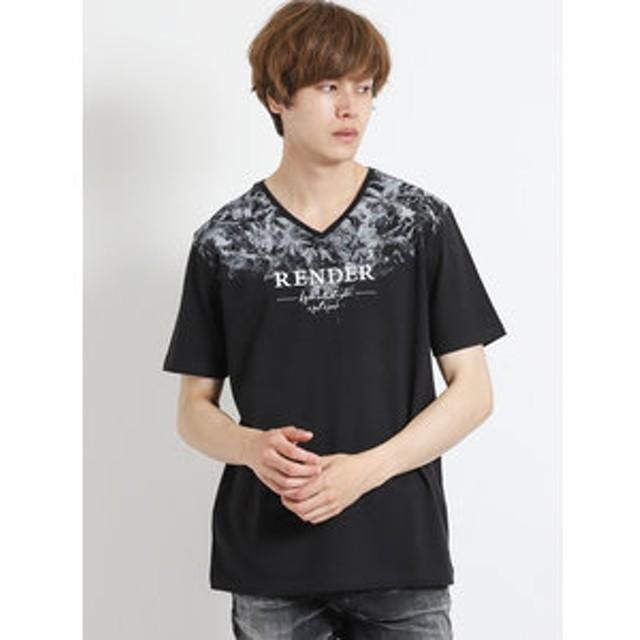 【semantic design:トップス】コットン天竺サガラ刺繍Vネック半袖Tシャツ