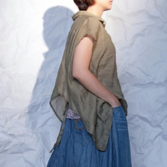 THE LIGHT_Layered-look draping blouse
