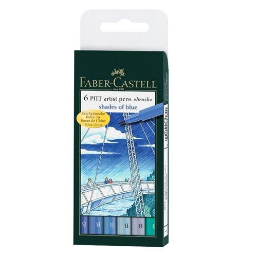【FABER-CASTELL】輝柏 PITT藝術筆(軟毛筆頭)細芯 藍色系 6支入/ 盒 167164