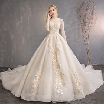 女性の夜会服のドレス ブライダルドレスフローラルブライドレースイブニングドレスVネックストラップフロアレングスウェディングドレス複数サイズ 結婚式のパーティー (Color : Champagne, Size : S)