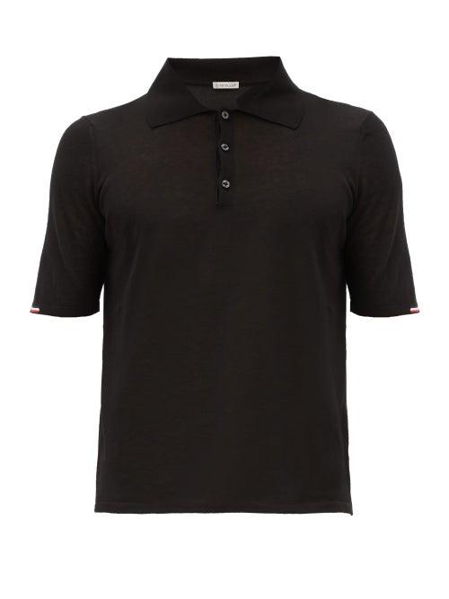 Moncler - Tricolour-trim Cotton-jersey Polo Shirt - Mens - Black