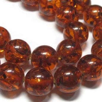 再生琥珀 ラウンド ブラウン 約12mm 全長約39cm 約34粒 連販売(3001364)