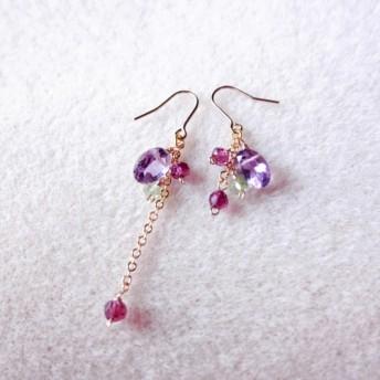 ラグジュアリー アメジスト フローラル ピアス amethyst floral earrings P0072