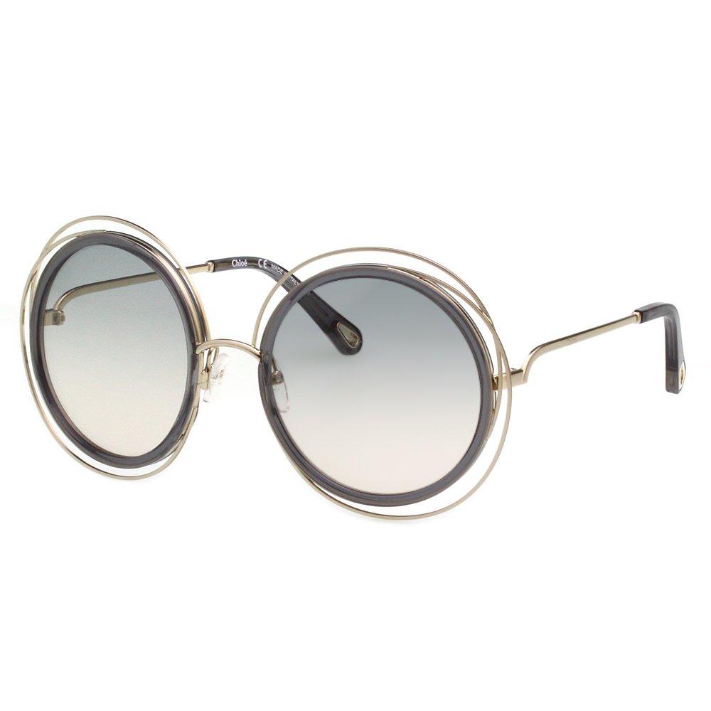 CHLOE金屬大框 太陽眼鏡( 淡金+深藍色) CE120SD